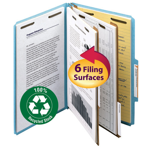 """Smead 100% Recycled Pressboard Classification File Folder, 2 Dividers, 2"""" Expansion, Legal Size, Blue, 10 per Box (19021)"""