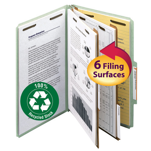 """Smead 100% Recycled Pressboard Classification File Folder, 2 Dividers, 2"""" Expansion, Legal Size, Gray/Green, 10 per Box (19022)"""