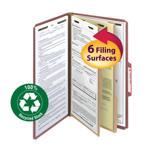 """Smead 100% Recycled Pressboard Classification File Folder, 2 Dividers, 2"""" Expansion, Legal Size, Red, 10 per Box (19023)"""
