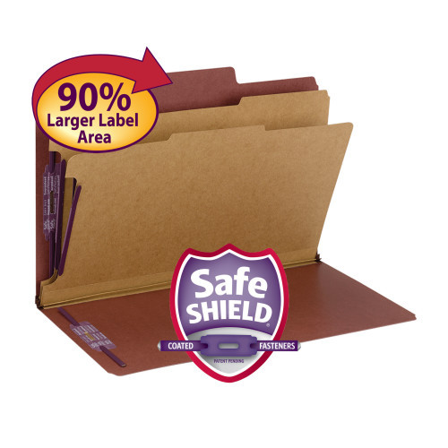 """Smead SuperTab Classification File Folder with SafeSHIELD  Fasteners, 2 Dividers, 2"""" Expansion, Legal Size, Red, 10 per Box (19070) - 5 Boxes"""