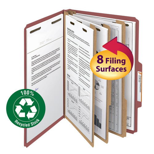 """Smead 100% Recycled Pressboard Classification File Folder, 3 Dividers, 3"""" Expansion, Legal Size, Red, 10 per Box (19099)"""