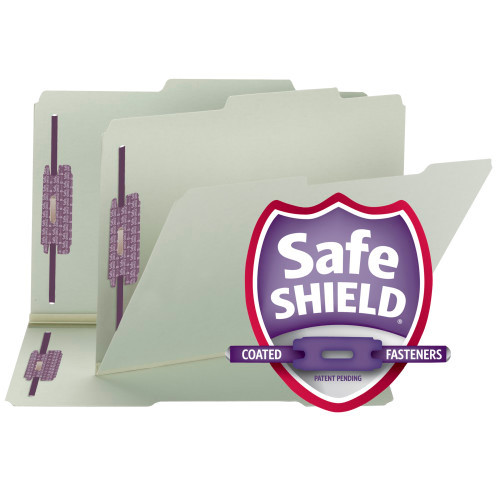 Smead Pressboard File Folder with SafeSHIELD Fasteners, 2 Fasteners, 2/5-Cut Tab ROC Position, Guide Height, Legal Size, Gray/Green (19980)