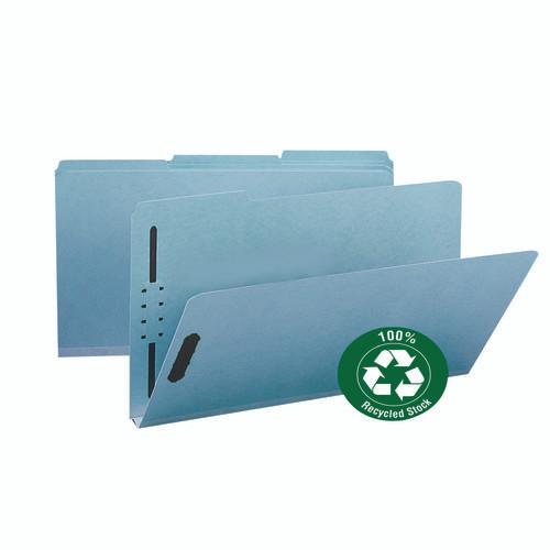"Smead 100% Recycled Pressboard Fastener File Folder, 1/3-Cut Tab, 1"" Expansion, Legal Size, Blue, 25 per Box (20000)"