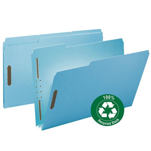 "Smead 100% Recycled Pressboard Fastener File Folder, 1/3-Cut Tab, 2"" Expansion, Legal Size, Blue, 25 per Box (20001)"