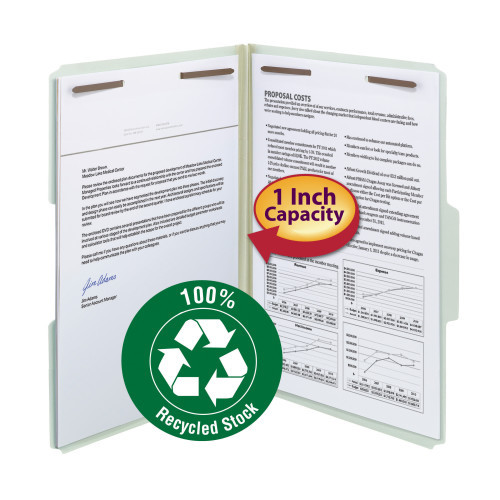 """Smead 100% Recycled Pressboard Fastener File Folder, 1/3-Cut Tab, 1"""" Expansion, Legal Size, Gray/Green, 25 per Box (20003)"""