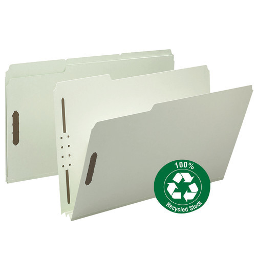"""Smead 100% Recycled Pressboard Fastener File Folder, 1/3-Cut Tab, 2"""" Expansion, Legal Size, Gray/Green, 25 per Box (20004)"""