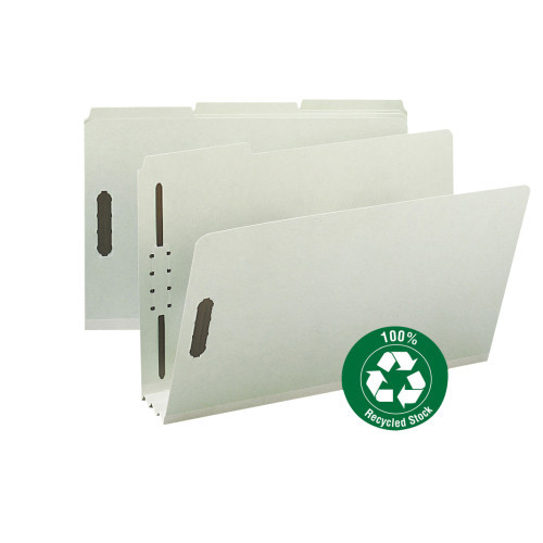 """Smead 100% Recycled Pressboard Fastener File Folder, 1/3-Cut Tab, 3"""" Expansion, Legal Size, Gray/Green, 25 per Box (20005)"""
