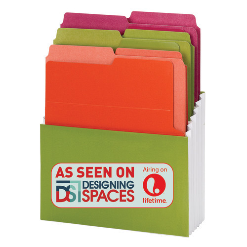 Smead Organized Up Vertical Stadium File with Heavyweight Vertical Folders, 3 Pockets, Letter, Peridot/Brights (70222) - Total of 6