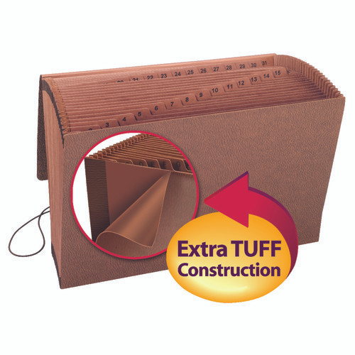Smead TUFF Expanding File, Daily (1-31), 31 Pockets, Flap and Elastic Cord Closure, Legal Size, Redrope-Printed Stock (70369)