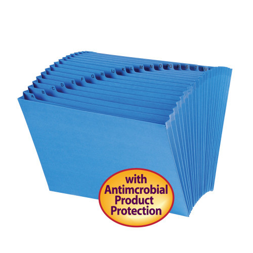 Smead Expanding File with Antimicrobial Product Protection, Alphabetic (A-Z), 21 Pockets, Letter Size, Blue (70727)