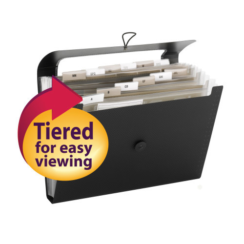 Smead Step Index Poly Organizer, 12 Pockets (Each Holds up to 50 Sheets), Flap and Cord Closure, Letter Size, Black ( 70901) - Total of 12