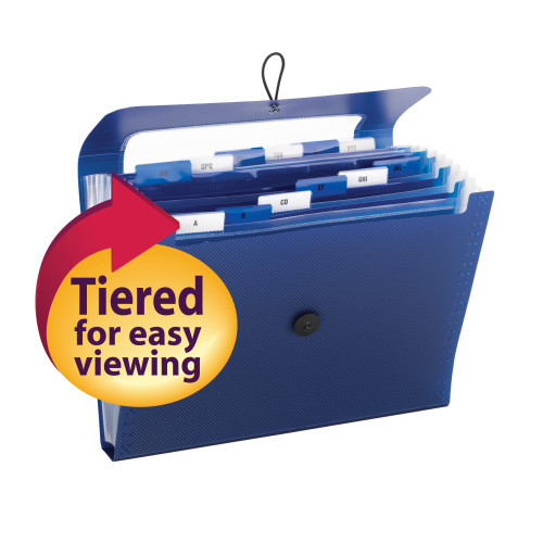 Smead Step Index Poly Organizer, 12 Pockets (Each Holds up to 50 Sheets), Flap and Cord Closure, Letter Size, Navy ( 70902) - Total of 12