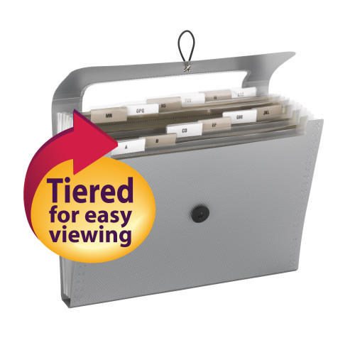Smead Step Index Poly Organizer, 12 Pockets (Each Holds up to 50 Sheets), Flap and Cord Closure, Letter Size, Silver ( 70903) - Total of 12
