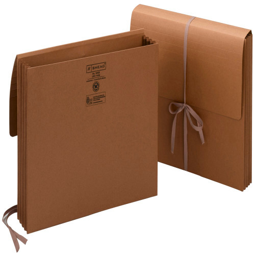 """Smead Wallet, 3-1/2"""" Expansion, Flap with Cloth Tie Closure, Letter Size, Redrope, 10 per Box (71053)"""