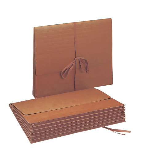 """Smead Wallet, 5-1/4"""" Expansion, Flap with Cloth Tie Closure, Letter Size, Redrope, 10 per Box (71073)"""