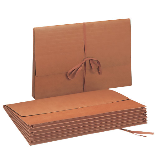 """Smead Wallet, 5-1/4"""" Expansion, Flap with Cloth Tie Closure, 15"""" W x 10"""" H, Redrope, 10 per Box (71076)"""