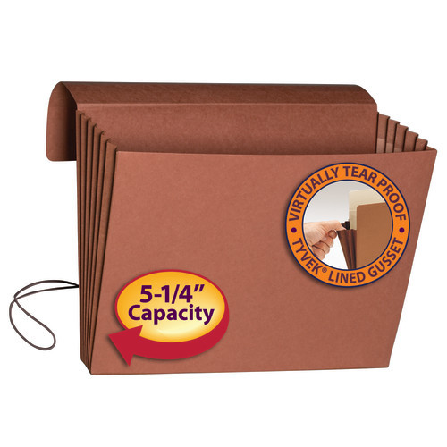 """Smead Expanding Wallet, 5-1/4"""" Expansion, Flap and Cord Closure, Extra Wide Letter Size, Redrope, 10 per Box (71186)"""