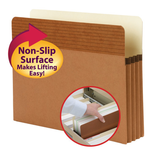 "Smead Easy Grip File Pocket, Straight-Cut Tab, 3-1/2"" Expansion, Letter Size, Redrope, 25 per Box (73208)"
