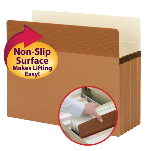 "Smead Easy Grip File Pocket, Straight-Cut Tab, 5-1/4"" Expansion, Letter Size, Redrope, 10 per Box (73209)"