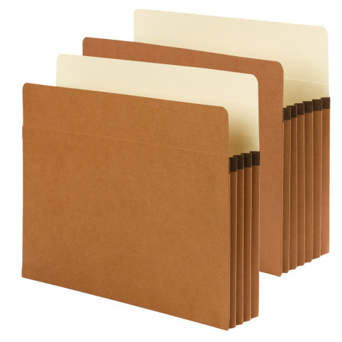 "Smead SuperTab File Pocket, Oversized Straight-Cut Tab, 3-1/2"" Expansion, Letter Size, Redrope, 25 per Box (73230)"