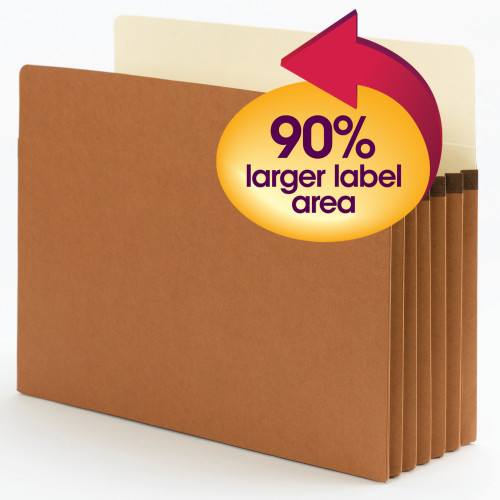 "Smead SuperTab File Pocket, Oversized Straight-Cut Tab, 5-1/4"" Expansion, Letter Size, Redrope, 10 per Box (73240)"