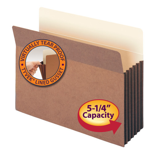 """Smead File Pocket, Straight-Cut Tab, 5-1/4"""" Expansion, Letter Size, Redrope, 10 per Box (73274) - 5 Boxes"""