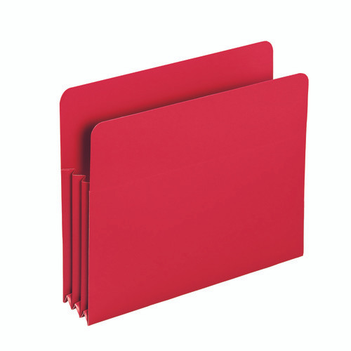 """Smead Poly File Pocket, Straight-Cut Tab, 3-1/2"""" Expansion, Letter Size, Red (73501)"""