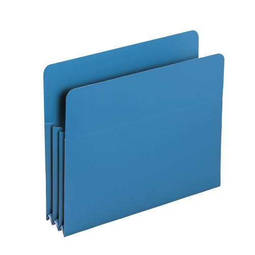 """Smead Poly File Pocket, Straight-Cut Tab, 3-1/2"""" Expansion, Letter Size, Blue (73503)"""