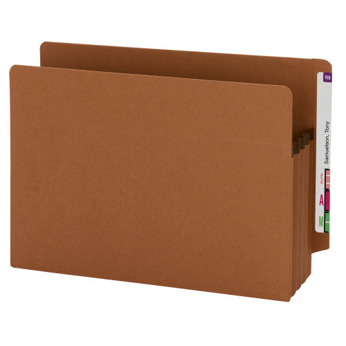 """Smead 100% Recycled End Tab Extra Wide folder, Straight-Cut Tab, 3-1/2"""" Accordion Expansion, Legal Size, Redrope, 25 per Box (73611)"""