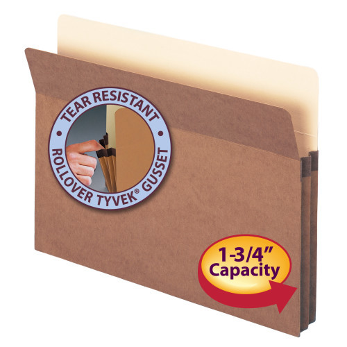 """Smead File Pocket, Straight-Cut Tab, 1-3/4"""" Expansion, Letter Size, Redrope, 50 per Box (73800)"""