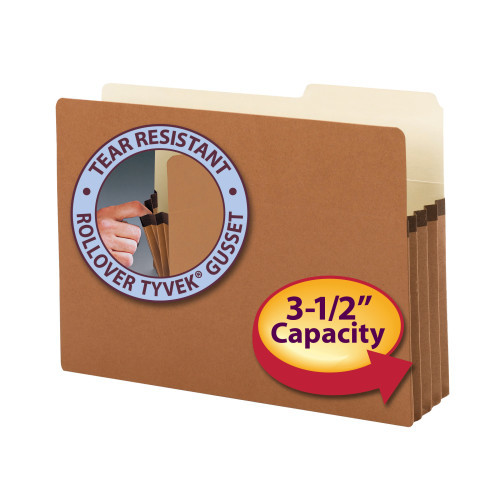 """Smead File Pocket, 2/5-Cut Tab Right Position, Guide Height, 3-1/2"""" Expansion, Legal Size, Redrope, 25 per Box (74088)"""