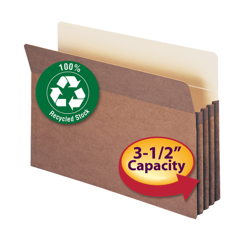 """Smead 100% Recycled File Pocket, Straight-Cut Tab, 3-1/2"""" Expansion, Legal Size, Redrope, 25 per Box (74205)"""