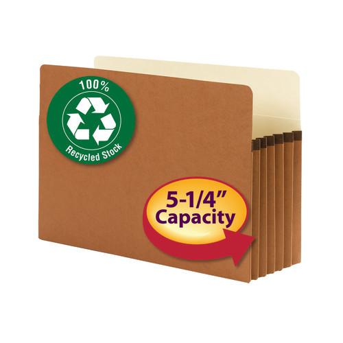 """Smead 100% Recycled File Pocket, Straight-Cut Tab, 5-1/4"""" Expansion, Legal Size, Redrope, 10 per Box (74206)"""