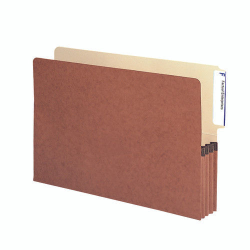 """Smead End Tab File folder, Reinforced 4""""-High Tab Top Position, 3-1/2"""" Accordion Expansion, Legal Size, Redrope with Manila Liner, 10 per Box (74624)"""