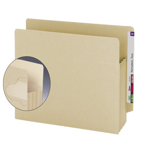 """Smead End Tab Extra Wide TUFF folder, Reinforced Straight-Cut Tab, 3-1/2"""" Accordion Expansion, Extra Wide Letter Size, Manila, 10 per Box (75150)"""