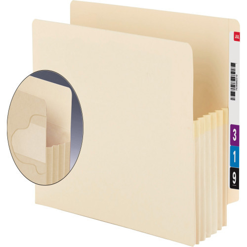 """Smead End Tab Extra Wide TUFF folder, Reinforced Straight-Cut Tab, 5-1/4"""" Accordion Expansion, Extra Wide Letter Size, Manila, 10 per Box (75160)"""
