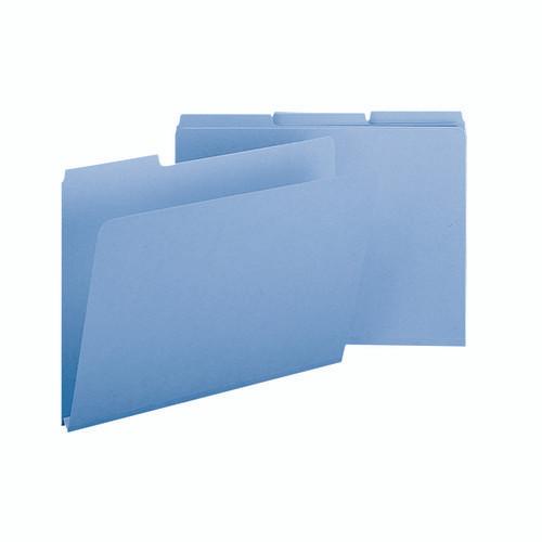 "Smead Pressboard File Folder, 1/3-Cut Tab, 1"" Expansion, Legal Size, Blue, 25 per Box (22530)"