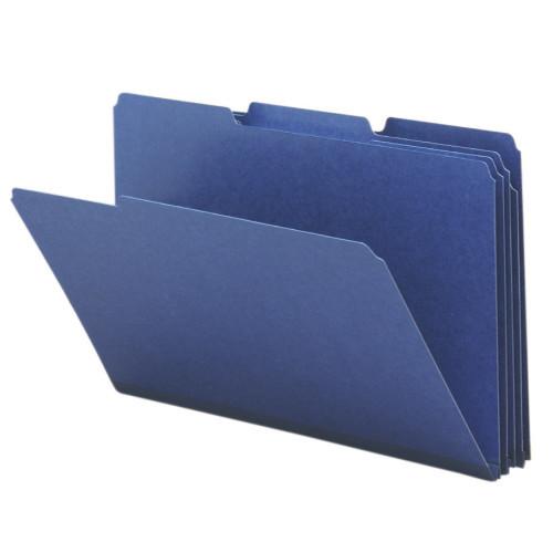"Smead Pressboard File Folder, 1/3-Cut Tab, 1"" Expansion, Legal Size, Dark Blue, 25 per Box (22541)"