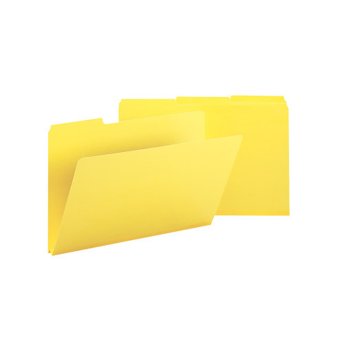 "Smead Pressboard File Folder, 1/3-Cut Tab, 1"" Expansion, Legal Size, Yellow, 25 per Box (22562)"