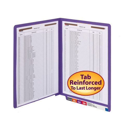 Smead WaterShed/CutLess End Tab Fastener Folder, Reinforced Straight-Cut Tab, Two Fasteners, Letter Size, Purple, 50 per Box (25550) - 5 Boxes