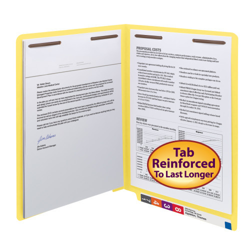 Smead WaterShed/CutLess End Tab Fastener Folder, Reinforced Straight-Cut Tab, Two Fasteners, Letter Size, Yellow, 50 per Box (25950) - 5 Boxes
