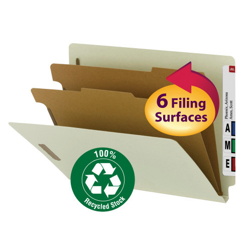 """Smead 100% Recycled End Tab Classification Folder, 2 Dividers, 2"""" Expansion, Letter Size, Gray/Green, 10 per Box (26802) - 5 Boxes"""