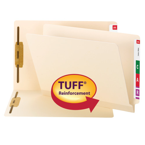Smead TUFF Laminated End Tab Fastener Folder, Shelf-Master Reinforced Straight-Cut Tab, Letter Size, Manila, 50 per Box (34105) - 5 Boxes