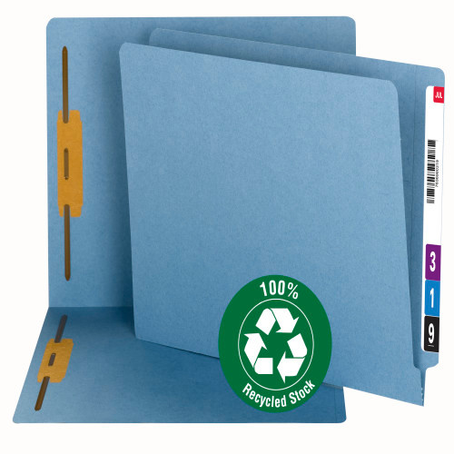 Smead 100% Recycled End Tab Fastener File Folder, Letter Size, Reinforced Straight-Cut Tab, 2 Fasteners, Blue (34170) - 50/Box