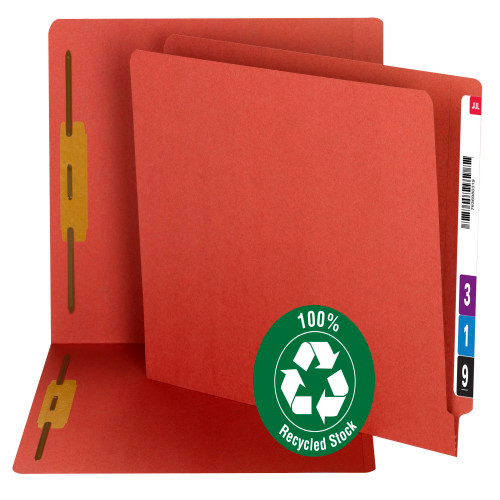 Smead 100% Recycled End Tab Fastener File Folder, Reinforced Straight-Cut Tab, 2 Fasteners, Red (34171)