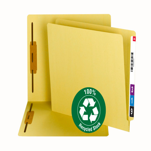 Smead 100% Recycled End Tab Fastener File Folder, Reinforced Straight-Cut Tab, 2 Fasteners, Yellow (34173)