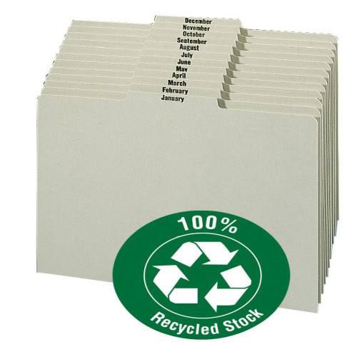Smead Pressboard Guides, Plain 1/3-Cut Tab Center Position (Jan.-Dec), Letter Size, Gray/Green 12 per Set (50365)