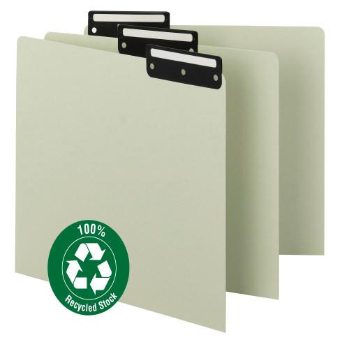 Smead Pressboard Guides, Flat Metal 1/3-Cut Tab with Insert (Blank), Letter Size, Gray/Green, 50 per Box (50534)