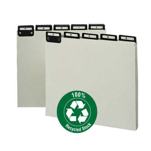 Smead Pressboard Guides, Flat Metal 1/3-Cut Tab with Insert (A-Z), Letter Size, Gray/Green, 25 per Set (50576)