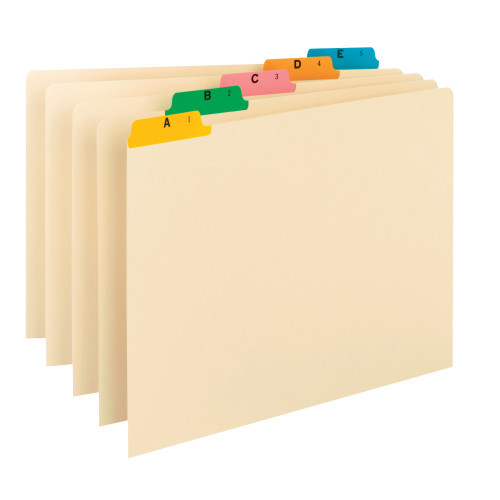 Smead Guides, Multi-Colored Fused Poly 1/5-Cut Tab (A-Z), Legal Size, Manila, 25 per Set (52180)